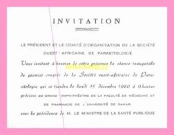 Carton D Invitation  Du President Et Du Comite D Organisation De La Societe Ouest Africaine De Parasitologie (SENEGAL) - Announcements
