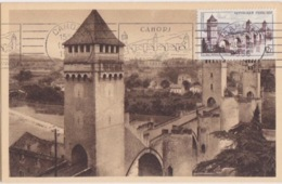 CP Maximum N° 1039 (Cahors Le Pontalentré) Obl RBV Cahors Le 18-9 1956 (le Pont Valentré) - 1950-59