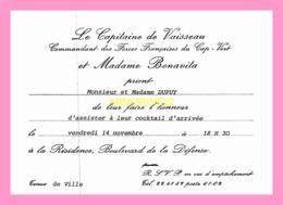 Carton D Invitation  Du Commandant Des Forces Francaises Du Cap Vert (SENEGAL) - Announcements