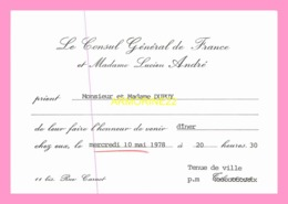 Carton D Invitation  Du Consul General  De France (SENEGAL) - Anuncios