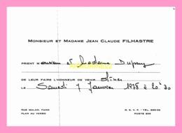Carton D Invitation  De Mr Et Mme Jean Claude  FILHASTRE  (SENEGAL) - Anuncios