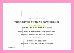 Carton D Invitation  De  THE ROYAL SWEDISH GOVERNMENT 1972  (SENEGAL) - Anuncios
