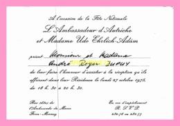 Carton D Invitation  De   L Ambassadeur D Autriche 1975 (SENEGAL) - Anuncios