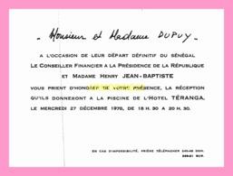 Carton D Invitation  Du Conseiller Financier A La Presidence De La Republique 1978 (SENEGAL) - Anuncios