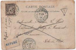 Carte Marseille Non Affranchie TAXE Banderole Rare étiquette Refusé Mention Manuscrite Facteur-receveur TREBEURDEN 1904 - Segnatasse