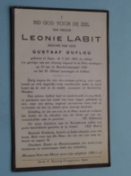 DP Leonie LABIT ( Gustaaf DUFLOU) Ieper 5 Juli 1865 - 12 V/d Rozenkransmaand 1950 ( Zie Foto's ) Ongeval ! - Obituary Notices