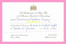 Carton D Invitation  De L Ambassadeur Des Pays- Bas  (SENEGAL) - Anuncios