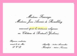 Carton D Invitation  De Mme FAUVAGE Et Mme  Jean Aronio De Romblay ( Avranches Et Nervieux ) - Anuncios