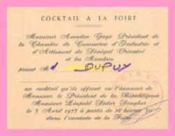 Carton D Invitation Au Cocktail à La Foire , Foire Regionale Du Senegal Oriental à Tambacouda 1973 - Announcements