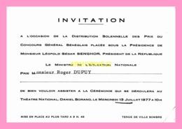 Carton D Invitation A La Distribution Solennelle Des Prix Du Concours General Senegalais  1977 - Anuncios