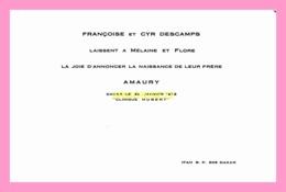 FAIRE PART DE NAISSANCE De Amaury DESCAMPS  à Dakar En 1972 - Birth & Baptism