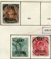14692 GRANDE-BRETAGNE Collection Vendue Par Page  Service  N°41, 46/7   °  1896-1901     B/TB - Dienstpost
