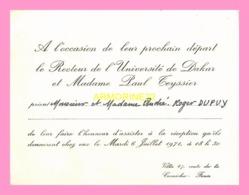 Carton D Invitation  Du Recteur De L Université De Dakar  1971 (SENEGAL) - Anuncios