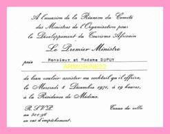 Carton D Invitation  De La Reunion Du Comite Des Ministres De L Organisation Pour Le Developpement Du Tourisme (SENEGAL) - Anuncios