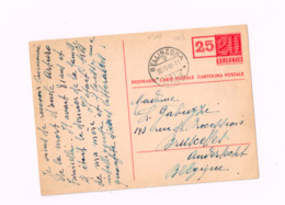 Entier Postal à 25 Centimes.Expédié De Bllinzona à Anderlecht (Belgique) - Ganzsachen