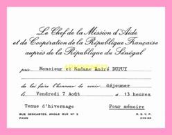 Carton D Invitation  Du Chef De La Mission D Aide Et De Cooperation De La Republique Francaise.. (SENEGAL) - Anuncios
