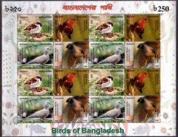 2010 Bangladesh - Birds Of Bangladesh -Sheetlet Of 4 Block4 MNH** MiNr. 1016 - 1019 (rg) Sparrow, Dove, Myna, - Bangladesch