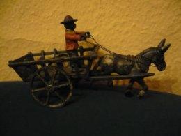 Esel Mit Karren Und Figur Aus Eisen - älter (808) - Antikspielzeug