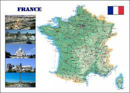France Country Map New Postcard Frankreich Landkarte AK - Frankrijk
