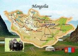 Mongolia Country Map New Postcard Mongolei Landkarte AK - Mongolei