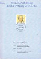 33908. Documento Souvenir BONN (Alemania Federal)  1999. GOETHE - FDC: Hojas
