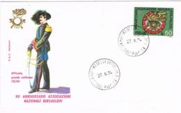 33910. Carta SAN MARTINO Della BATAGLIA (Brescia) 1974. Associazione Bersaglieri - 6. 1946-.. República