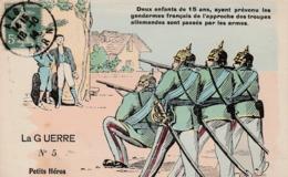 """La Guerre - Carte Caricaturale """"Petits Héros Grands Lâches """" - Oorlog 1914-18"""