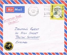 33912. Carta Aerea Urgente Interflora GWERU (Zinbabwe) 1988. Viñeta, Label Interflora - Zimbabwe (1980-...)