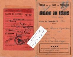 24 - Mairie De PERIGUEUX - Allocation Aux Réfugiés + Carte De Réfugié   ( 2 Feuilles 10,5 Cm X 16,5 Cm ) - Historical Documents