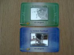 LOT DE 2 TIMBRES EN ARGENT RUGBY ET FOOTBALL - France