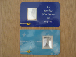 LOT DE 2 TIMBRES EN ARGENT MARIANNE - France