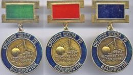 389 Soviet Russian Pins Set (3pins) School Space Museum. Vladivostok. First Sputnik - Space