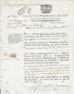 1792 - Reconnaissance De Déclaration Pour La CONTRIBUTION PATRIOTIQUE - Maison De M. Le Duc De CHARAULT - Documenti Storici