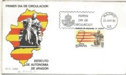 ESPAÑA SPD 1984 ESTATUTO DE AUTONOMIA DE ARAGON BANDERA FLAG - Sobres