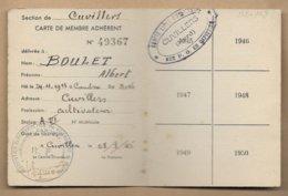 Cuvillers (59) Albert Boulet Cultivateur Carte Adhérent Association D. Des Prisonniers De Guerre 2scans 28-08-1945 - Documentos Históricos