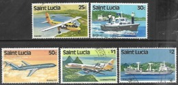 St Lucia  1980  Sc#508-10, 512-3  5 Diff Transportation To The $2  Used  2016 Scott Value $5.50 - St.Lucia (1979-...)