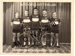 JACQUES ANQUETIL - AUTO CYCLE SOTTEVILLAIS -  CHAMPION DE NORMANDIE 1951- PHOTO 16x12,5 Cms - PHOTO ROGER - Cyclisme