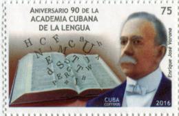 Lote CU2016-4, Cuba, 2016, Sello, Stamp, Aniv 90 De La Academia Cubana De La Lengua, Enrique Jose Varona, Book, Language - Cuba