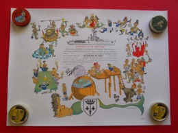 Campagne 1984-85 Porte-hélicoptères Jeanne D'Arc Certificat De Baptême 3 Cartes Monde Timbres Et Cachets-Le Navire TOP - Barcos
