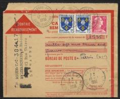 Carte Lettre Contre-remboursement CCP Affr. 15 F Marianne De Muller + 2 X 5 F Saintonge Obl. Tàd Le Havre Ppal 17.4.1956 - Marcophilie (Lettres)