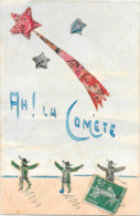 Cpa COLLAGE DE TIMBRES Représentant LA COMETE - Timbres (représentations)