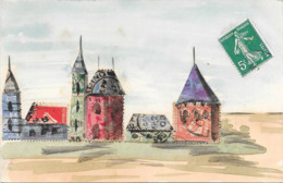 Cpa COLLAGE DE TIMBRES Représentant Un Village Avec Des Tours De Château - Timbres (représentations)