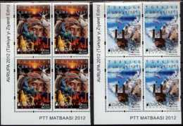 2012 Turkey Europa CEPT Visit -Blocks Of 4 Corners -Mi 3954/3955 -MNH** - 1921-... Repubblica