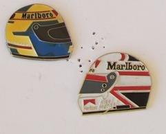 2 Pin's Course F1 - CASQUE MALBORO - ALAIN PROST Et NIGEL MANSELL - Automobile - F1