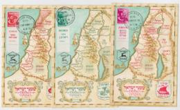 The Tribes Of Israël FDC 1956 Maximum Card Lot De 3 Cartes Carte Postale Géographique Map Zebulun Asher Reuben - Cartes-maximum