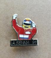 Pin's / Pins / Thème : Sports - Automobile - F1 / A. SENNA 91 (Pilote) - Automobile - F1