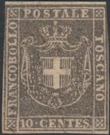 Toscana Governo, 10 Cent Bruno Grigio N.19c MH * Certifiato E.Diena Cv 9000 - Toscana