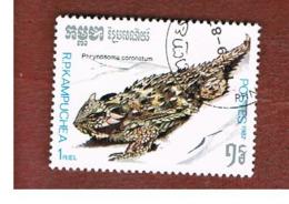 CAMBODIA (KAMPUCHEA)   - SG 842   -    1987  REPTILES: HORNED LIZARD    - USED ° - Kampuchea