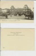 Bruxelles: La Gare Du Nord. Carte Postale Cm 9x14 (début 1900) - Animée, Voitures, Chevaux - Spoorwegen, Stations