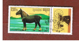 CAMBODIA (KAMPUCHEA)   - SG 1013   -    1989  HORSES: ITALIAN HEAVY DRAFT (WITH LABEL)      - USED ° - Kampuchea